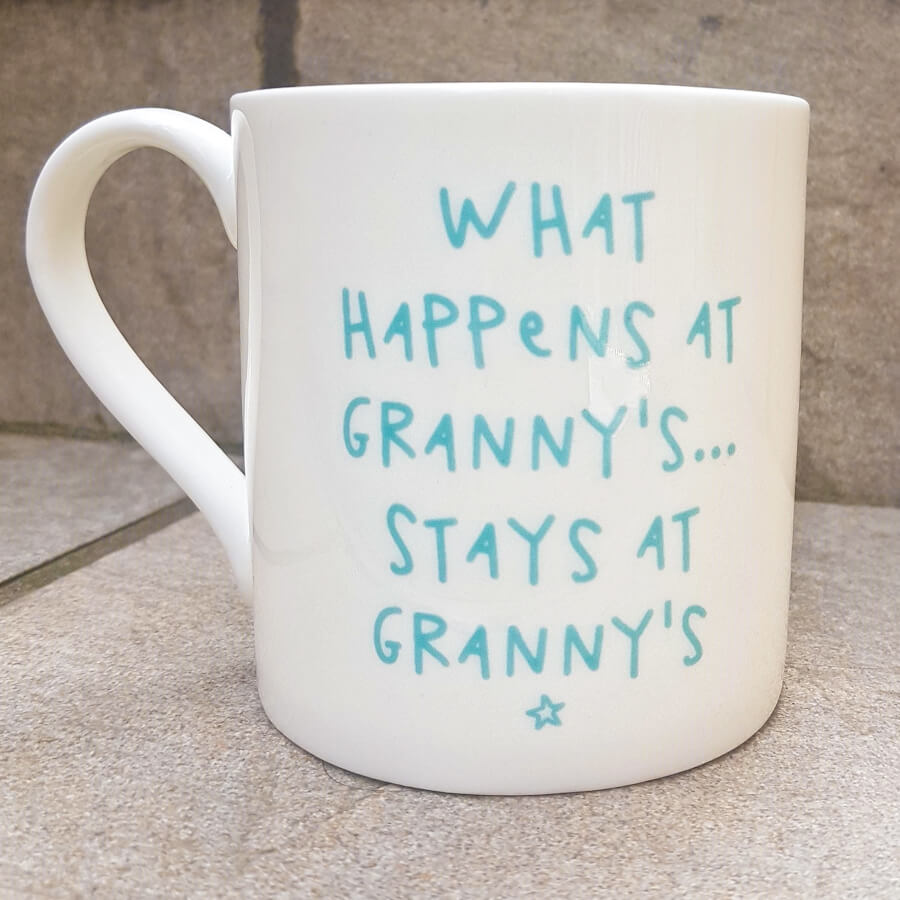 What Happens at Granny's Bone China Mug