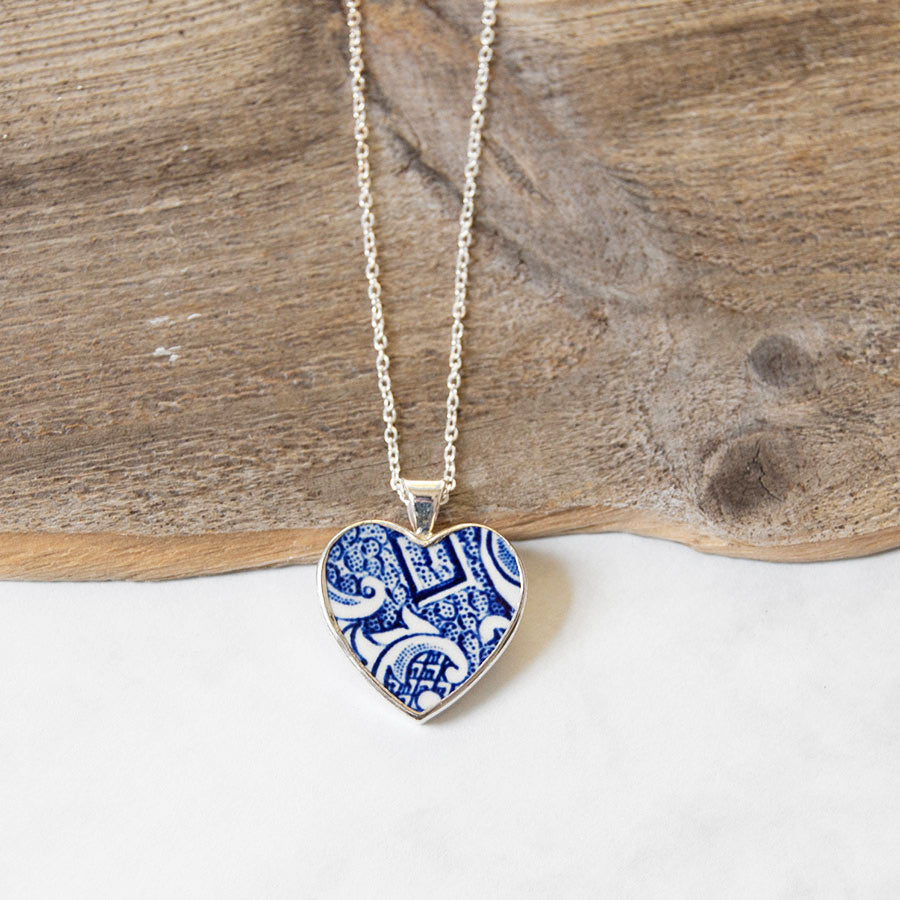 Vintage Porcelain Heart Pendant Necklace