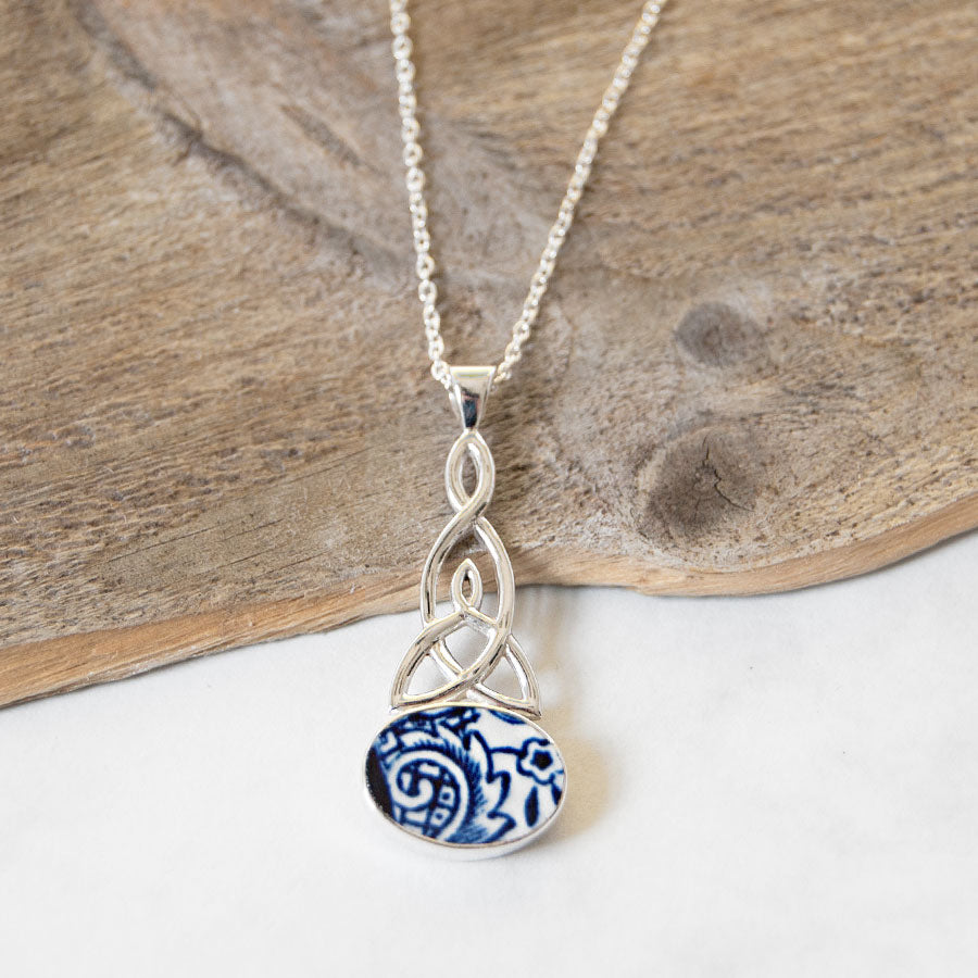 Porcelain Celtic Trinity Pendant Necklace