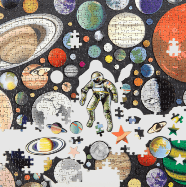 Zero Gravity Jigsaw Puzzle with Shaped Pieces