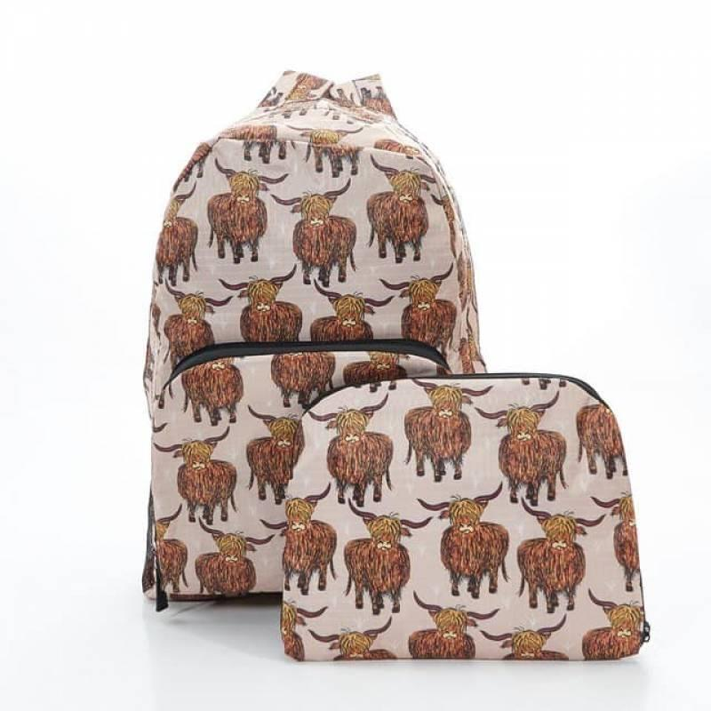 Beige Highland Cow Foldable Backpack