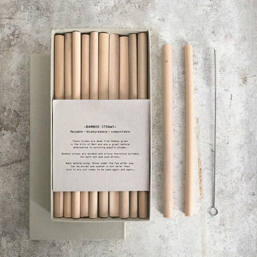Box Of Bamboo Straws with Brush