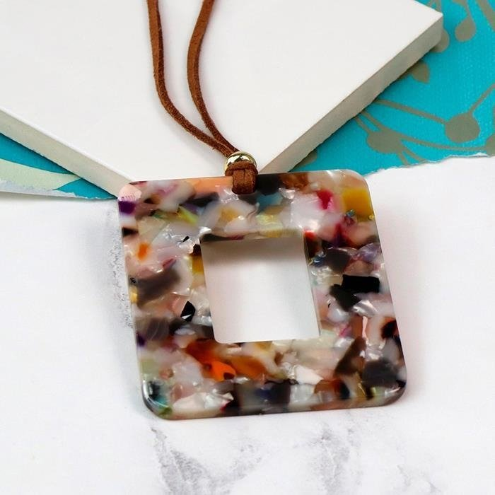 Acrylic Open Square Pendant & Cord Necklace