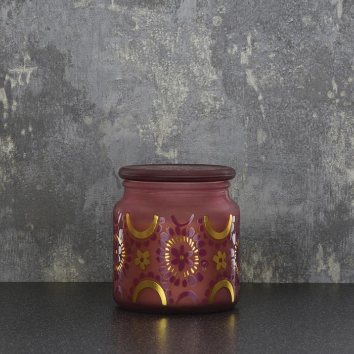 Frosted Gold & Plum Candle Jar