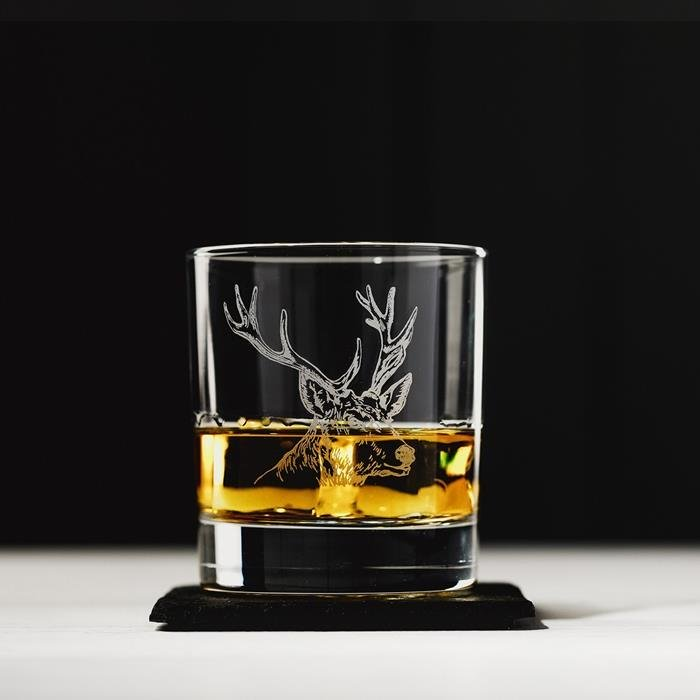 Stag Engraved Glass Tumbler & Slate Coaster Set