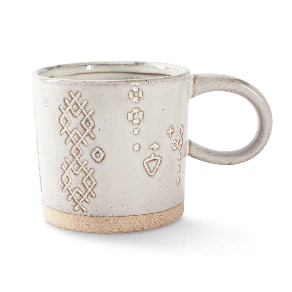 Artisan White Mug with Debossed Art