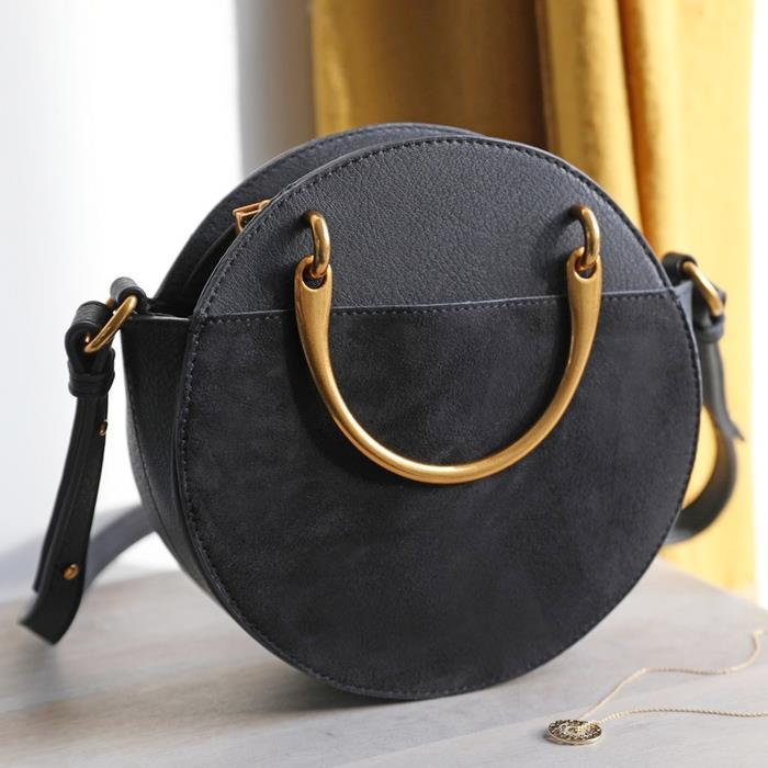 Round Brass Handle Shoulder Bag | Black