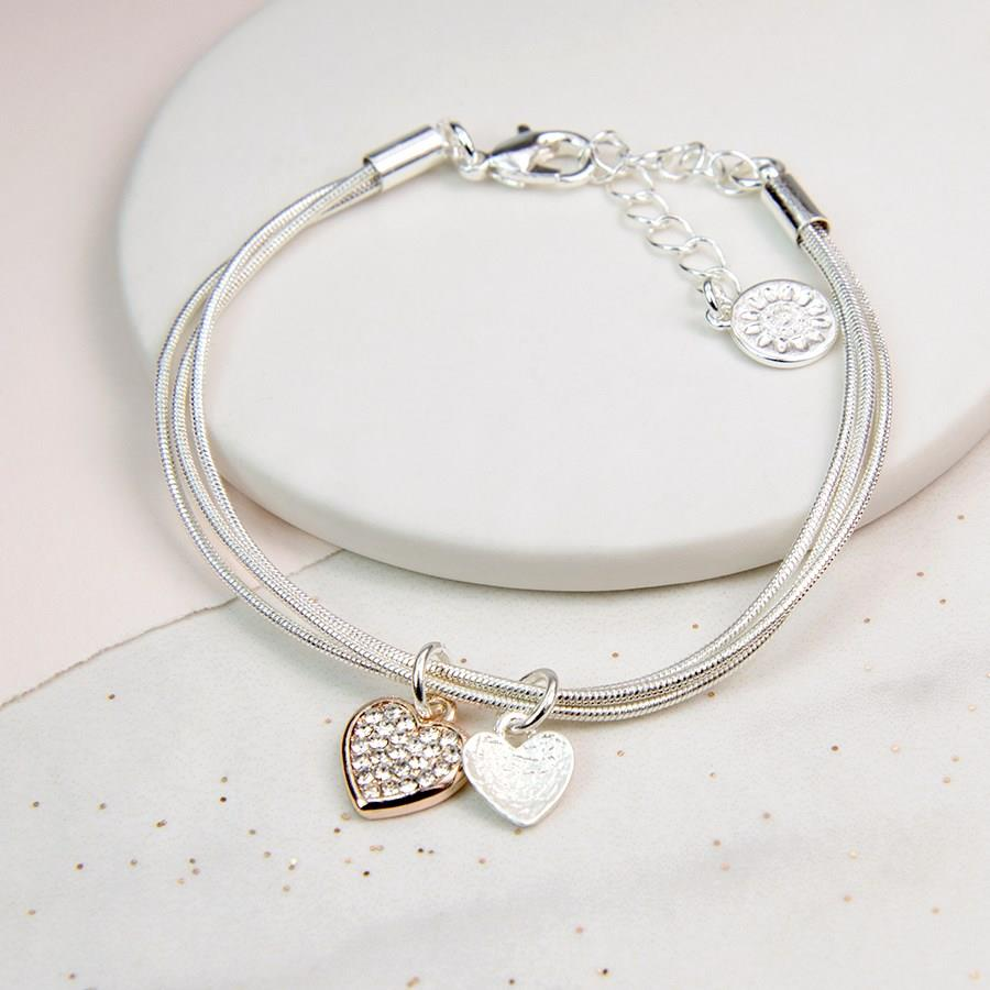 Crystal Double Heart Snake Chain Bracelet