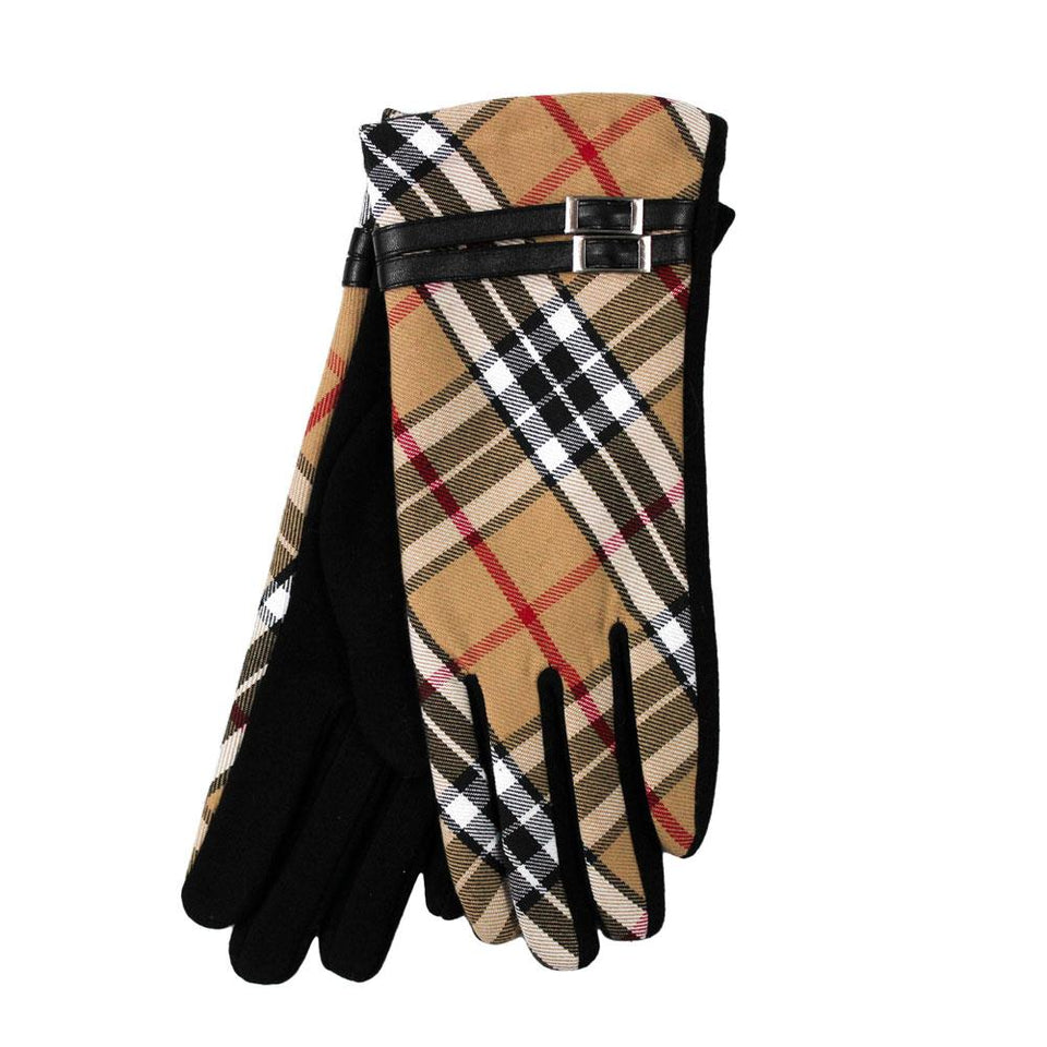 Camel Thomson Tartan Gloves with Black Buckle