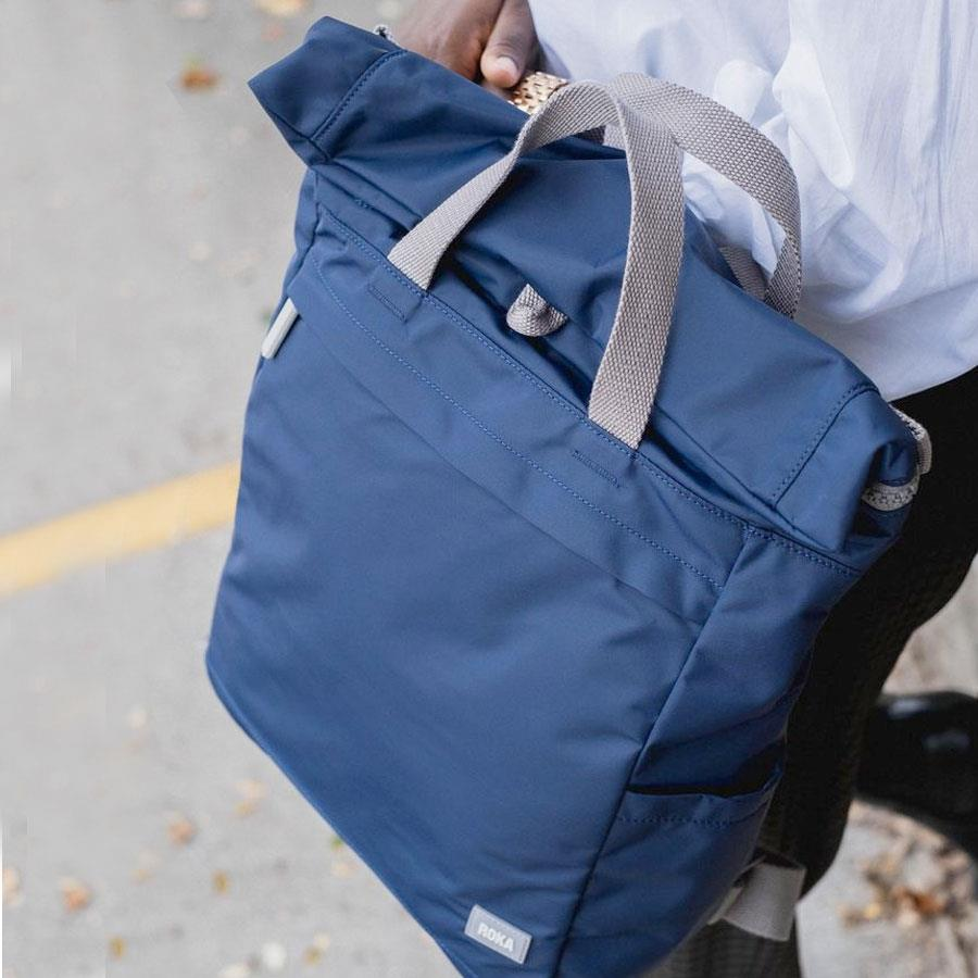 Navy Blue Fold Top Nylon Backpack