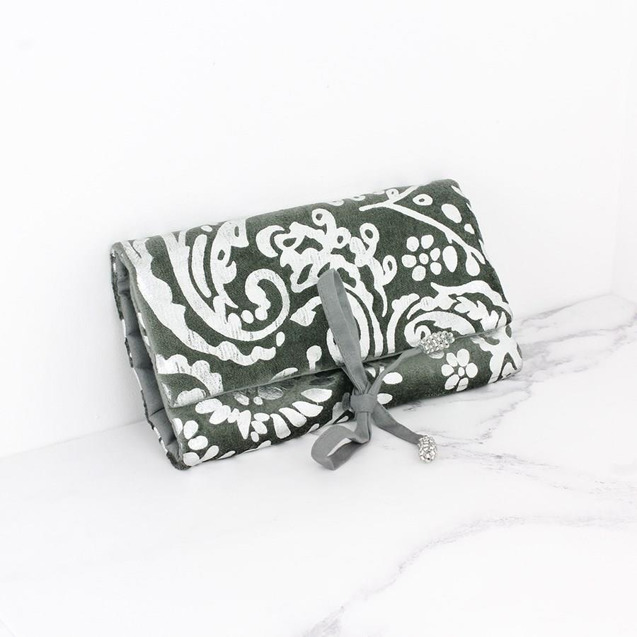 Grey Velvet Jewellery Roll with Paisley Print