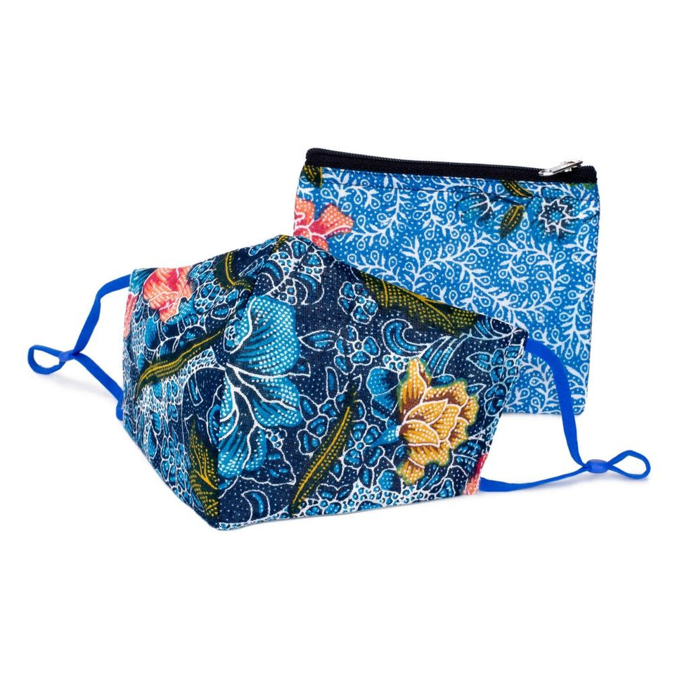 Blue Batik Face Mask & Purse Set