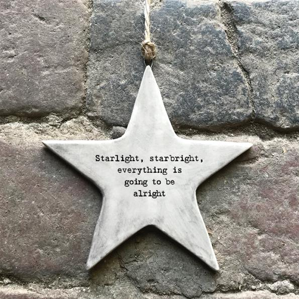 Starlight Rustic Porcelain Hanging Star