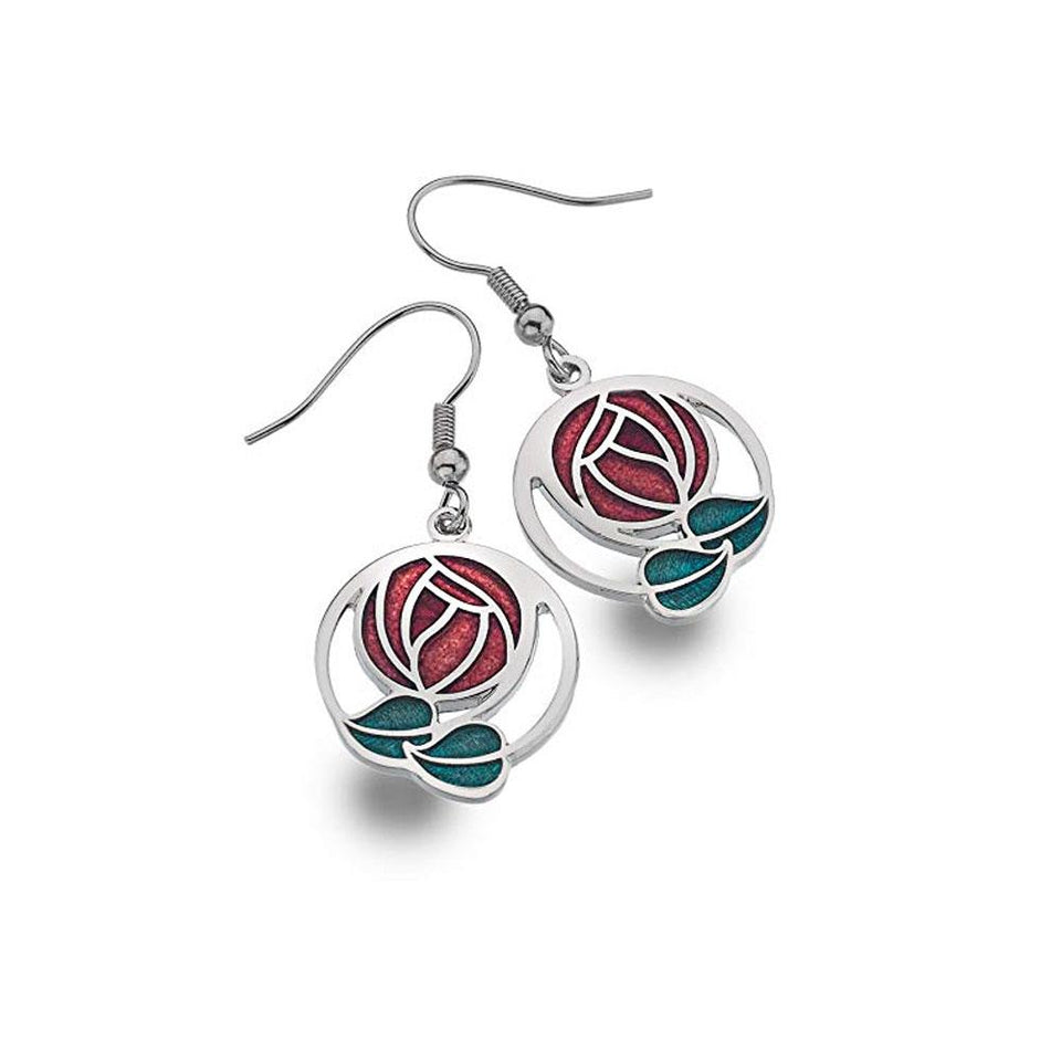 Mackintosh Rose Red and Green Silver Hook Earrings
