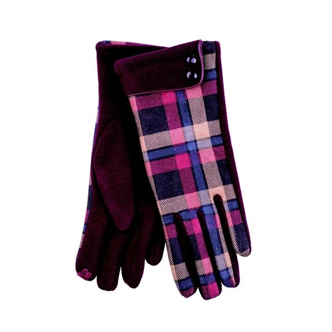 Ladies Oxblood Button Cuff Check Glove