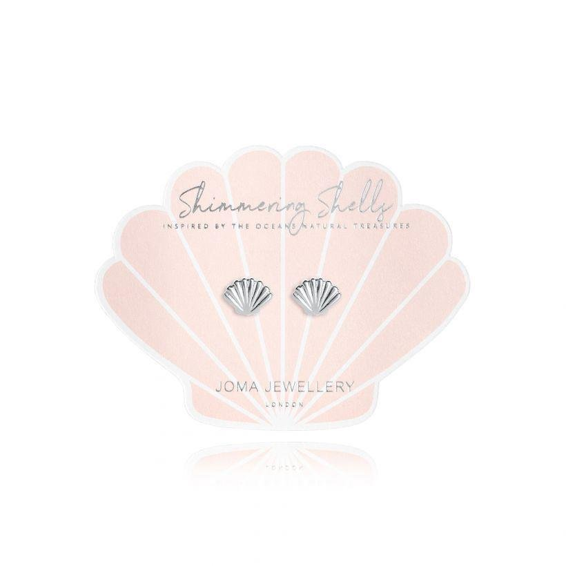 Shimmering Shell Stud Earrings | Silver Plated