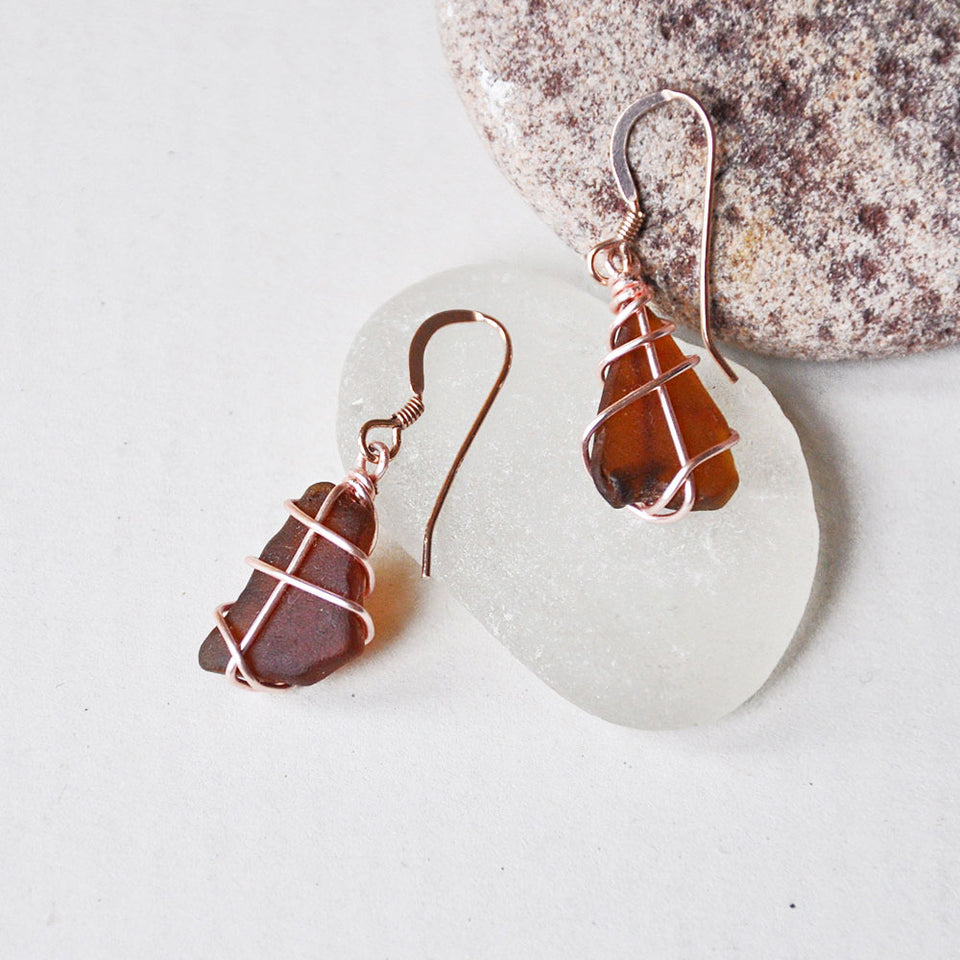 Rose Gold Classic Amber Sea Glass Earrings