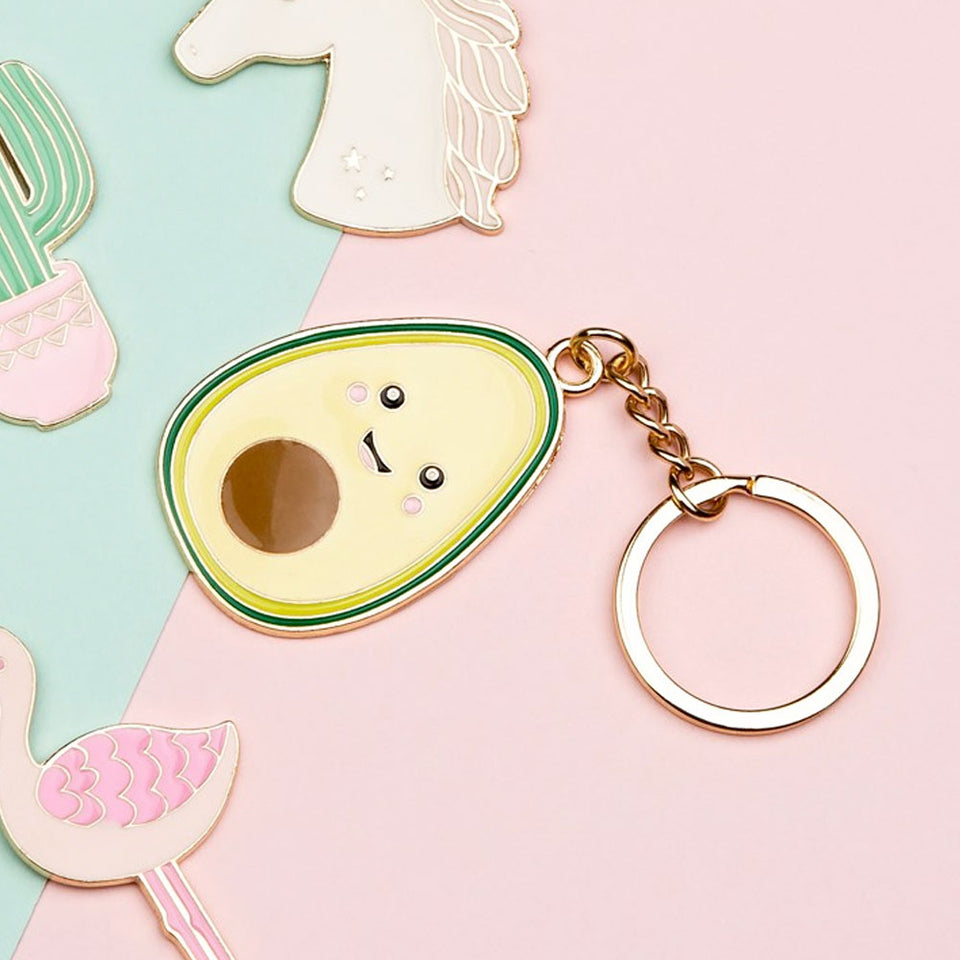 Happy Avocado Enamel Keyring