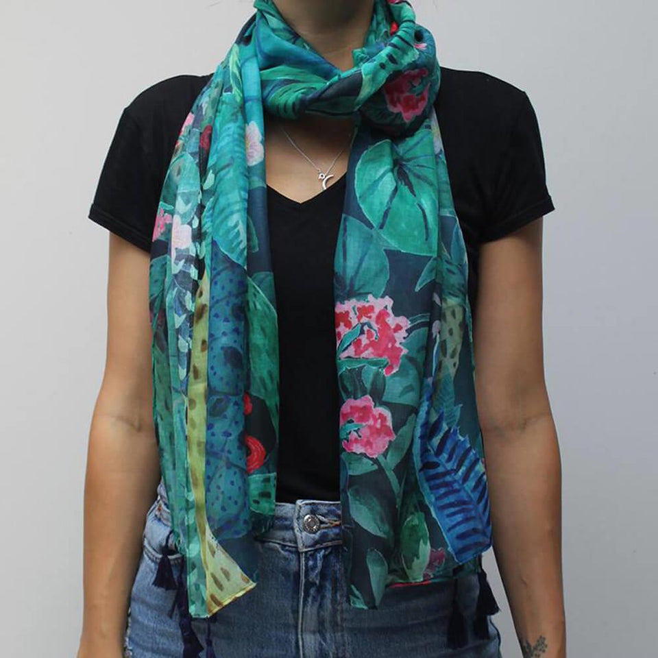 Tropical Leaf Soft Scarf