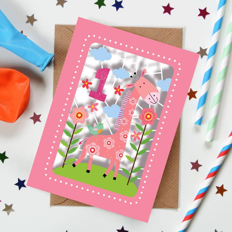 Giraffe 1st  Kids Age Card