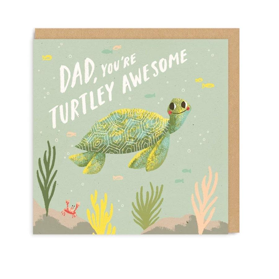 Turtley Dad Square Greeting Card