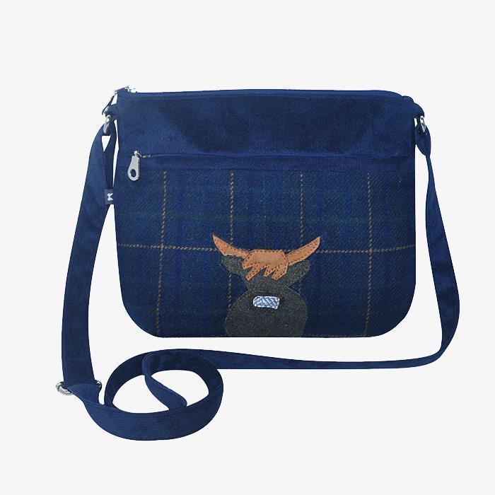Navy Blue Cow Applique Messenger Bag
