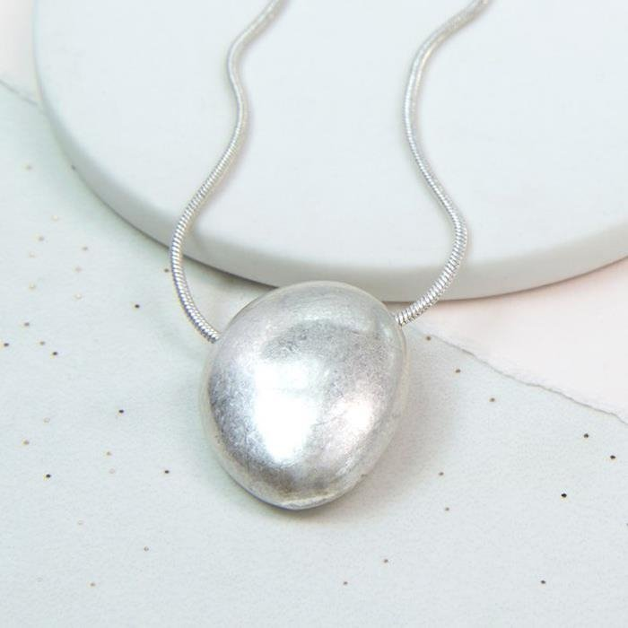 Large Silver Pebble Necklace