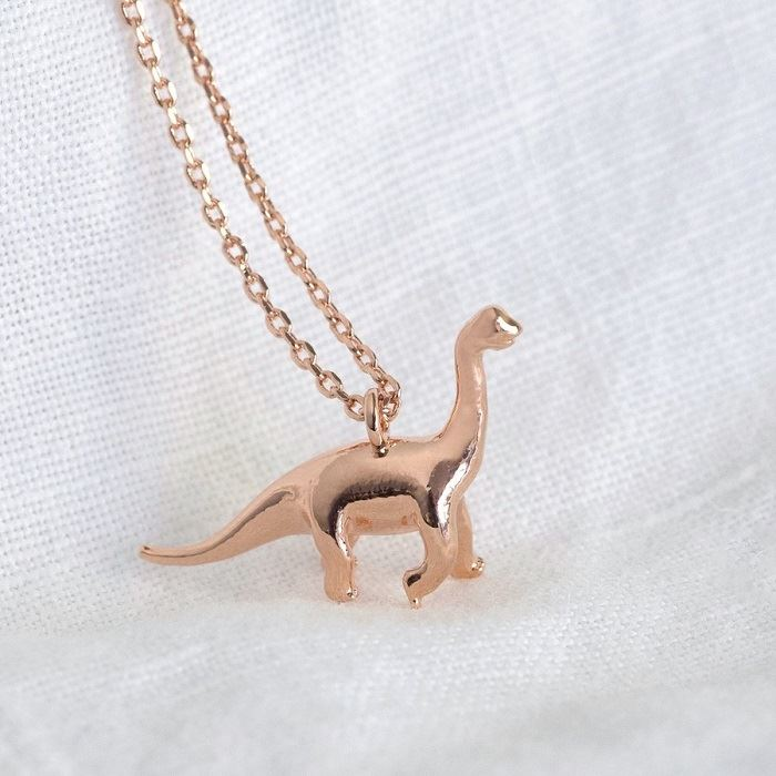 Rose Gold Diplodocus Charm Necklace