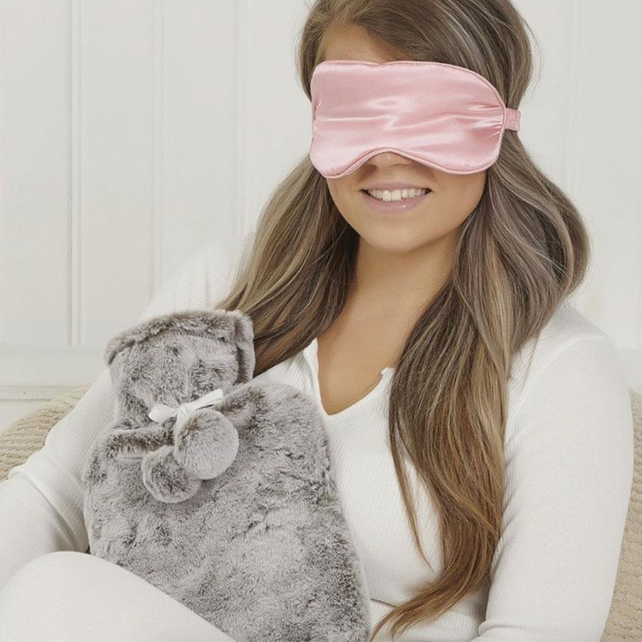 Grey Faux Fur Range Hot Water Bottle And Satin Eye Mask