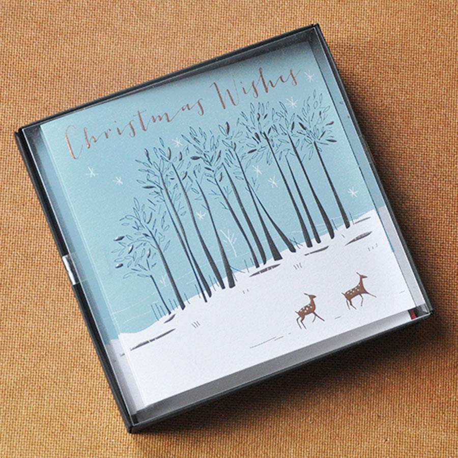 Blue Christmas Wishes Trees & Deer Card Box Set