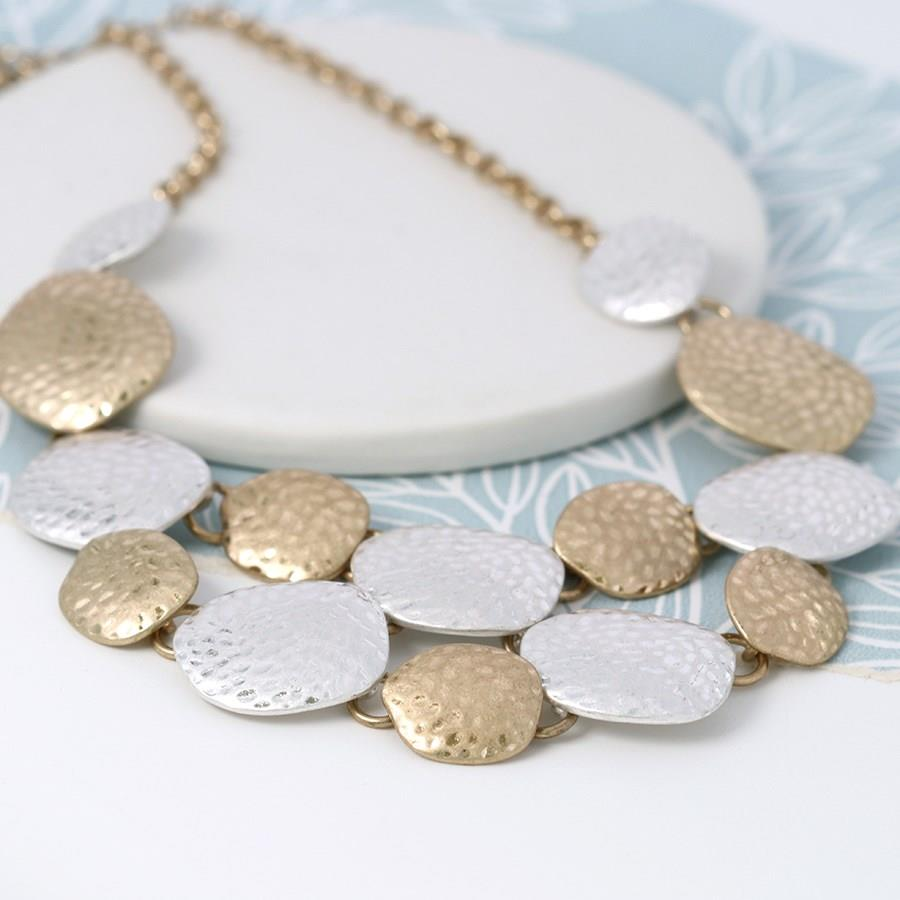 Hammered Disc Worn Silver & Worn Gold Necklace