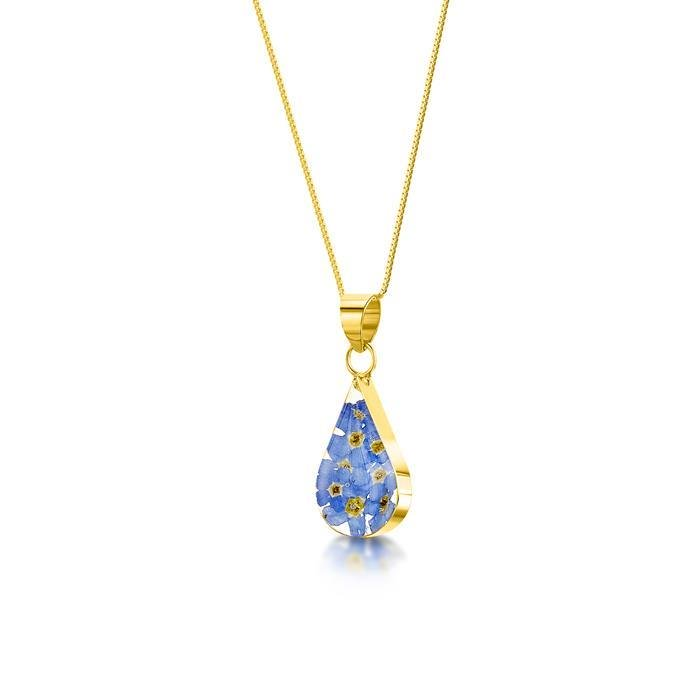 Gold Plated Forget Me Not Teardrop  Pendant Necklace