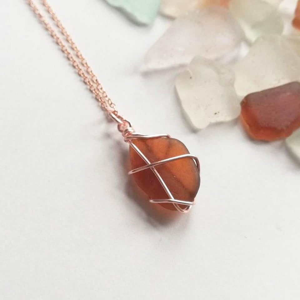 Rose Gold Classic Amber Sea Glass Necklace
