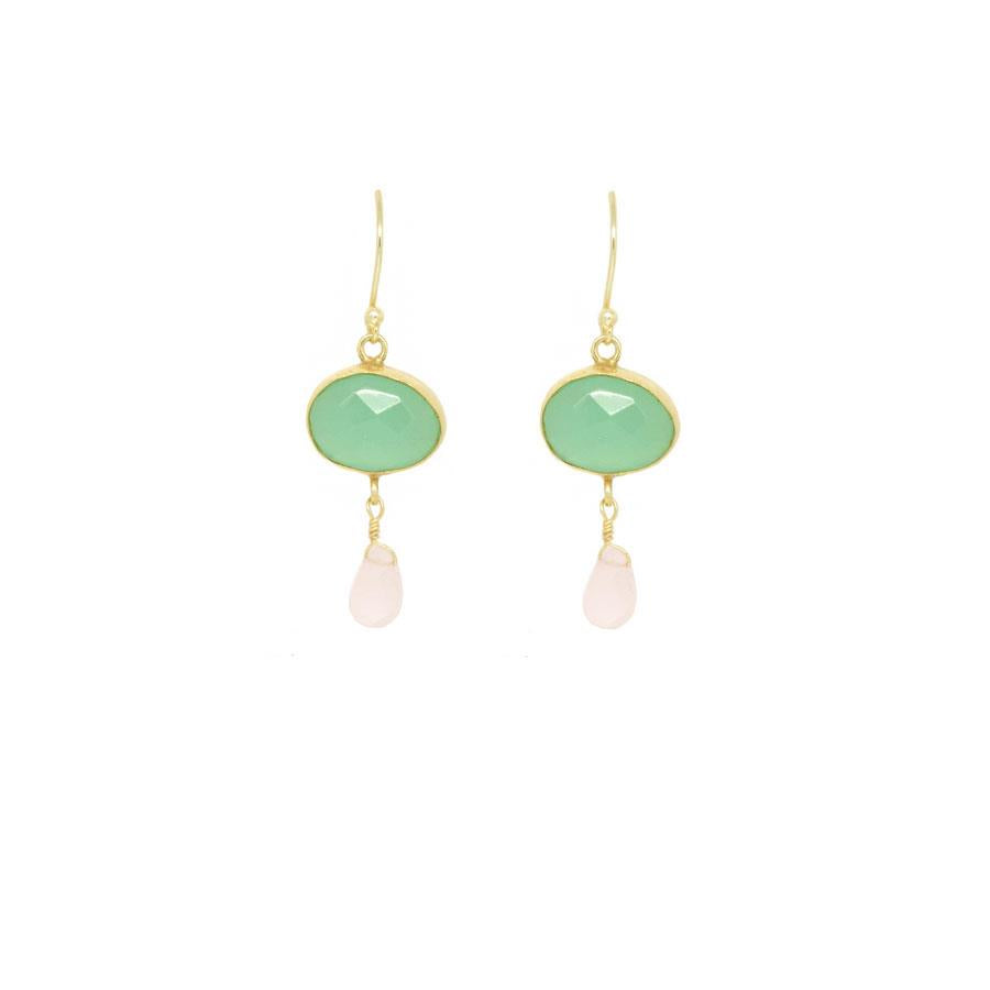 Aqua Chalcedony and Rosequart Drop Earrings