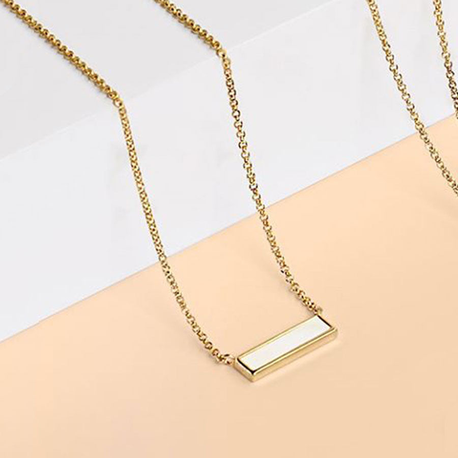 Shona Shell Bar Necklace in Yellow Gold