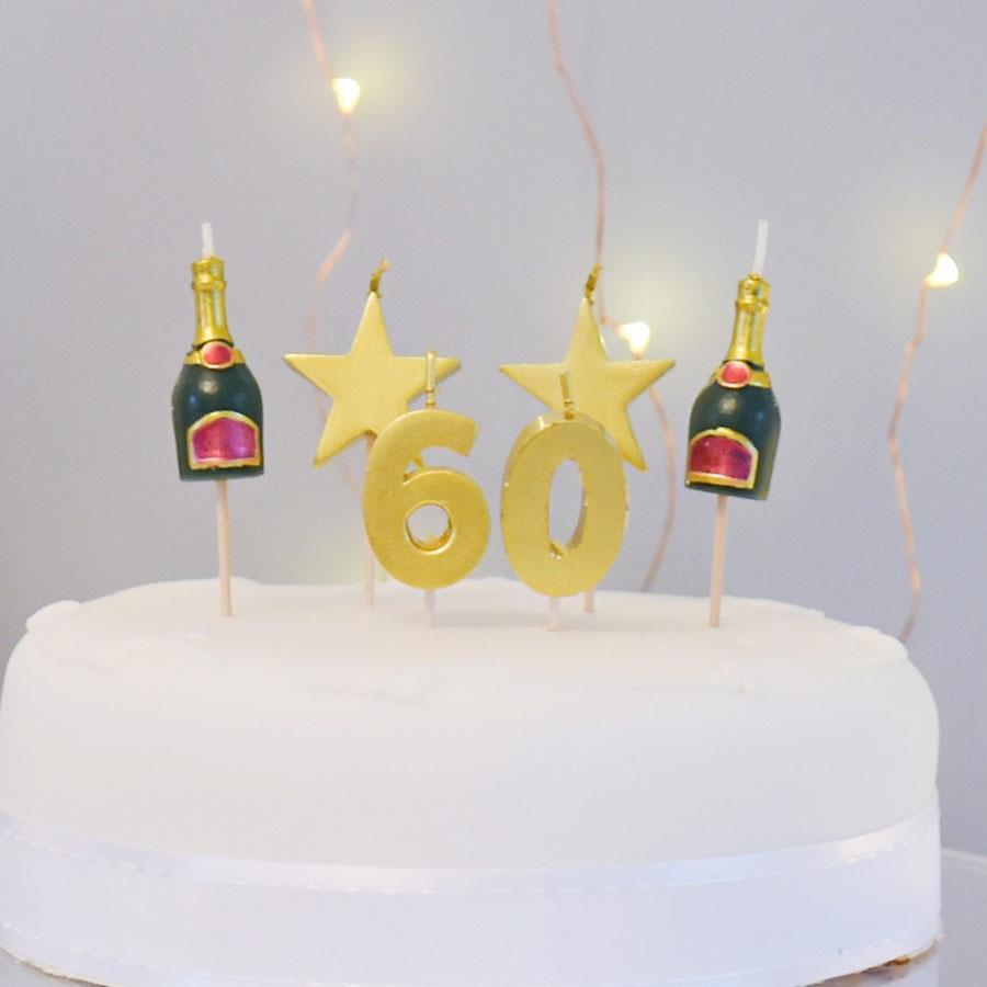 60 Cake Topper Candle Set