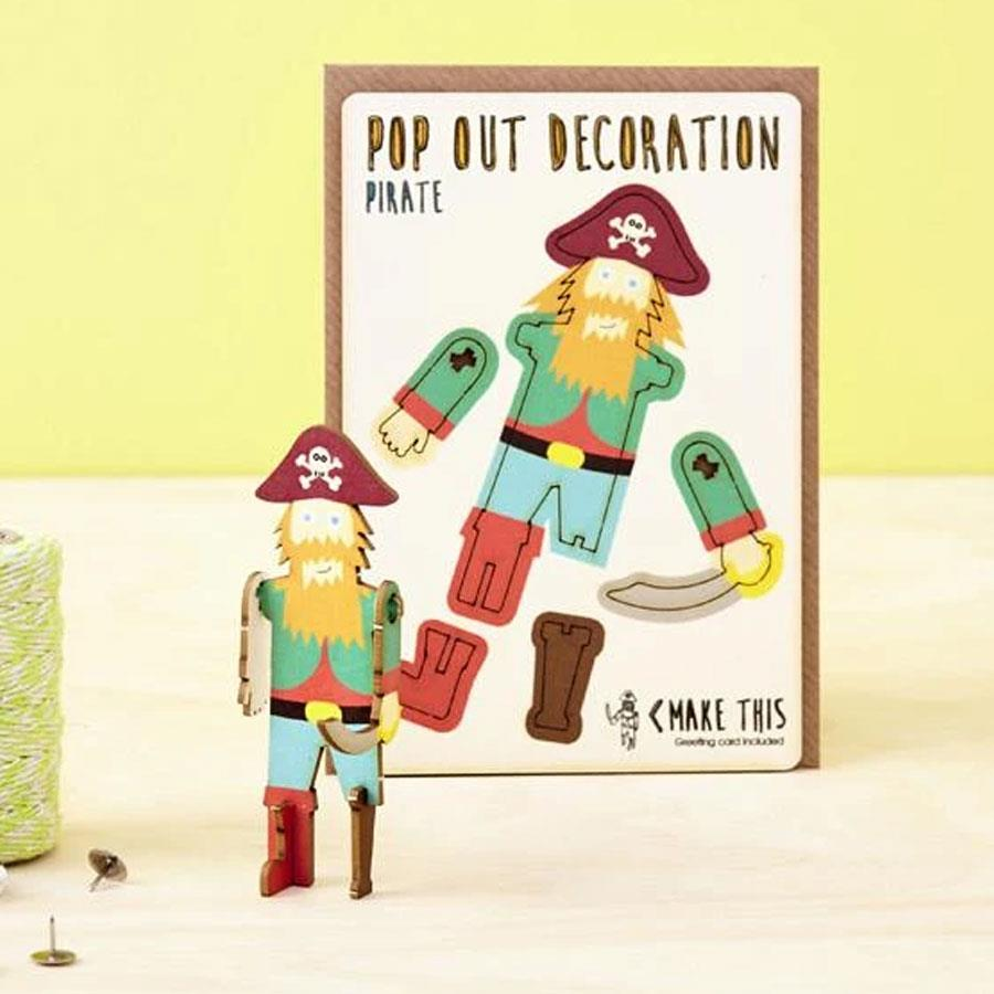 Pirate Wooden Pop Out Card