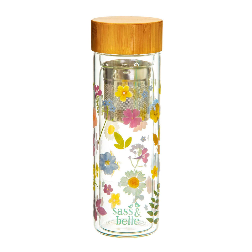 Pressed Flowers Glass Water Bottle with Tea Infuser