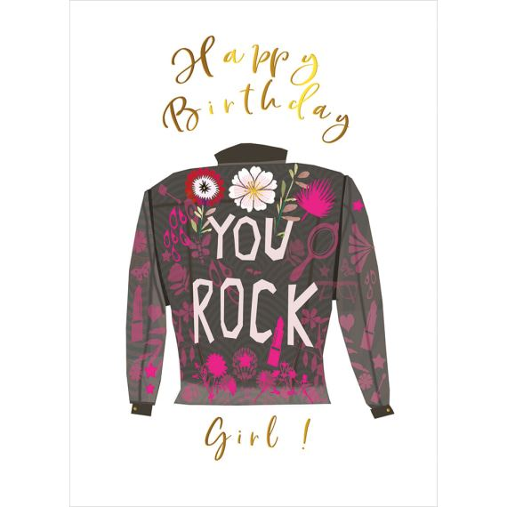 You Rock Leather Jacket Birthday Card