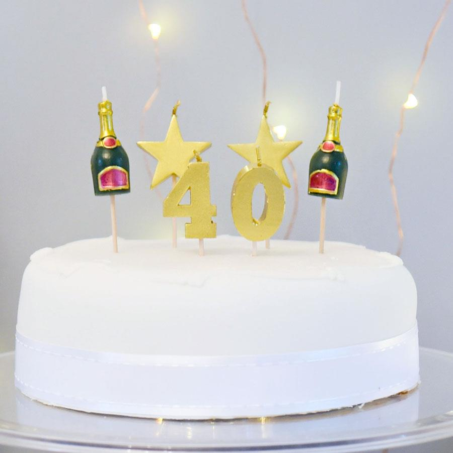 40 Cake Topper Candle Set