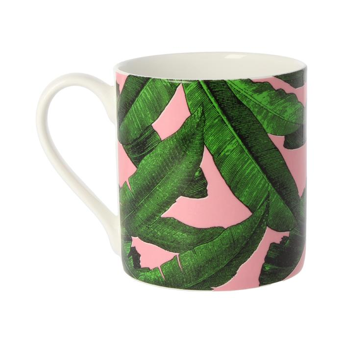 Palm Print Green and Pink Ceramic Mug