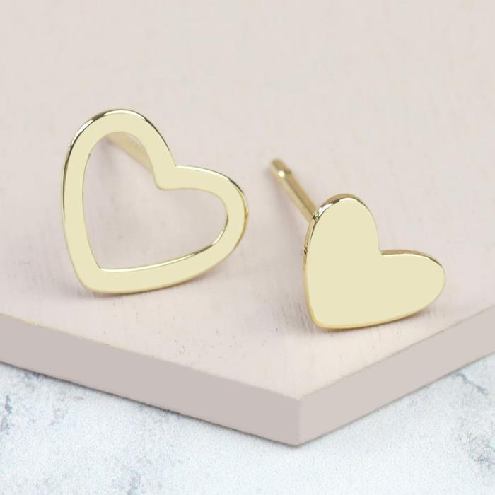 Mismatch Stud Heart Earrings | Gold Plated