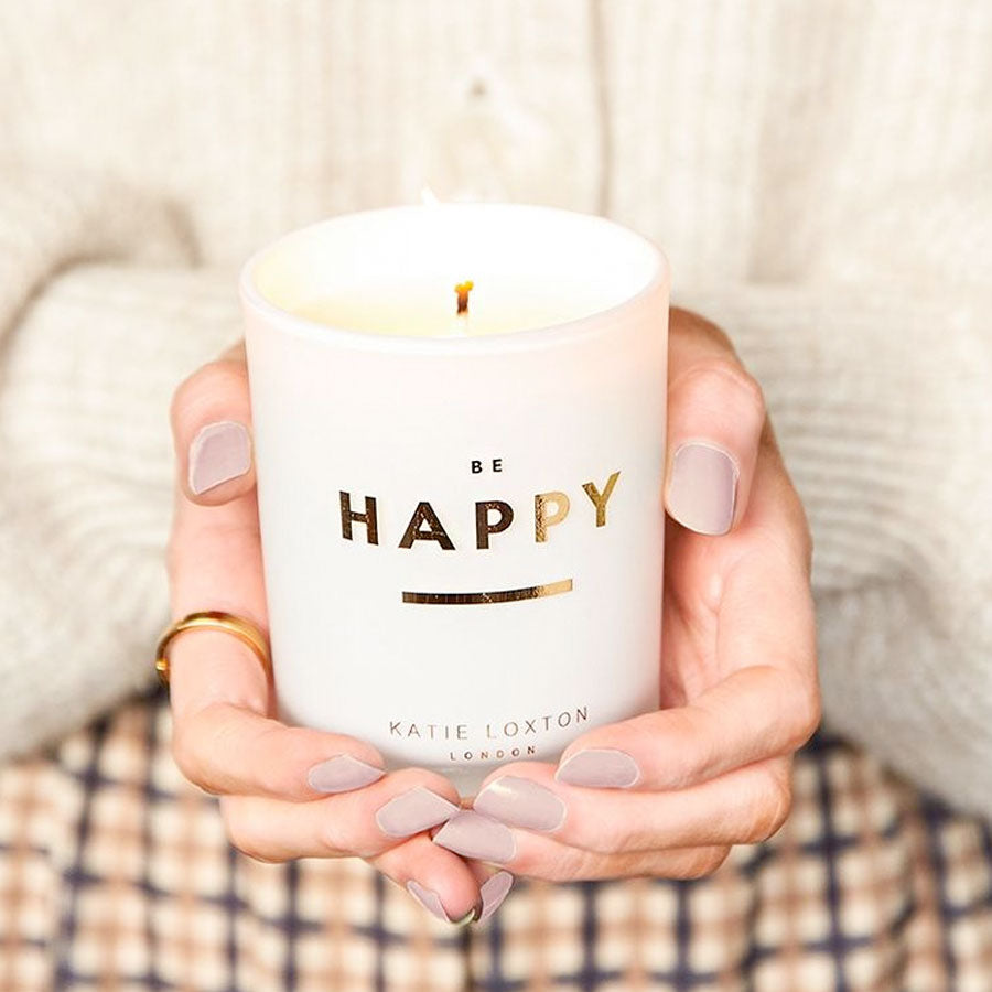 Be Happy Sentiment Candle