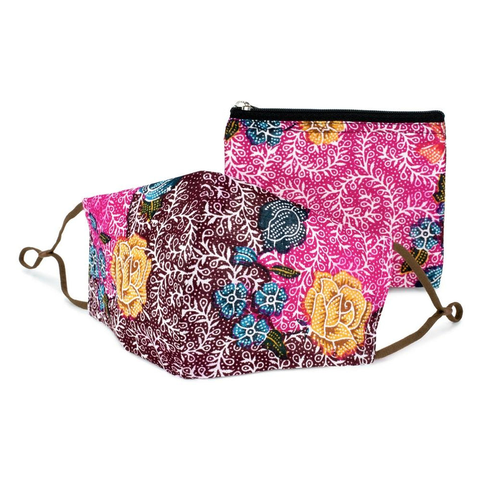 Pink & Purple Batik Face Mask & Purse Set