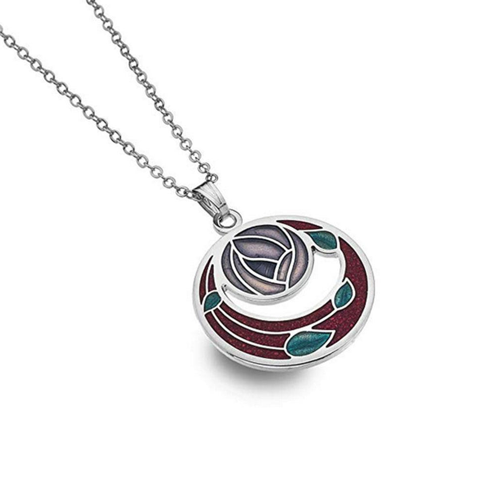 Mackintosh Cut Out Red & Lilac Rose Silver Necklace