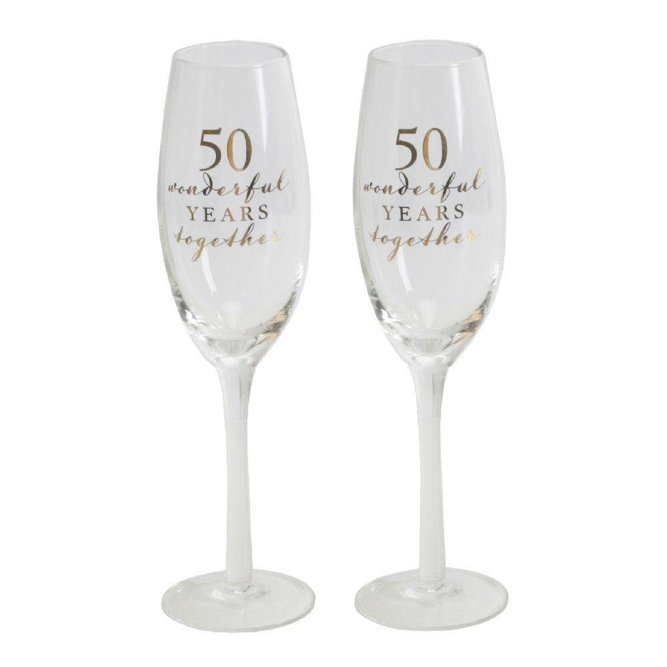 50th Anniversary Amore Champagne Flutes Set