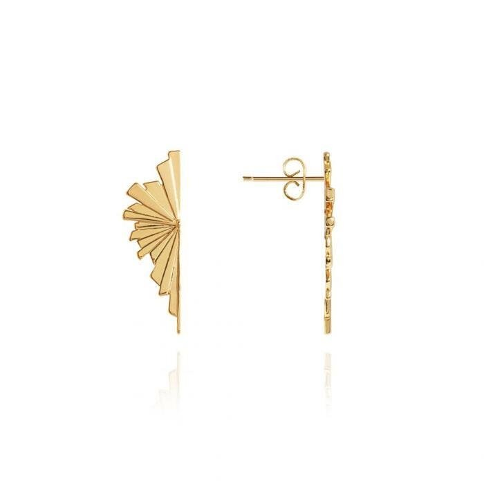 Golden Fan Statement Stud Earrings