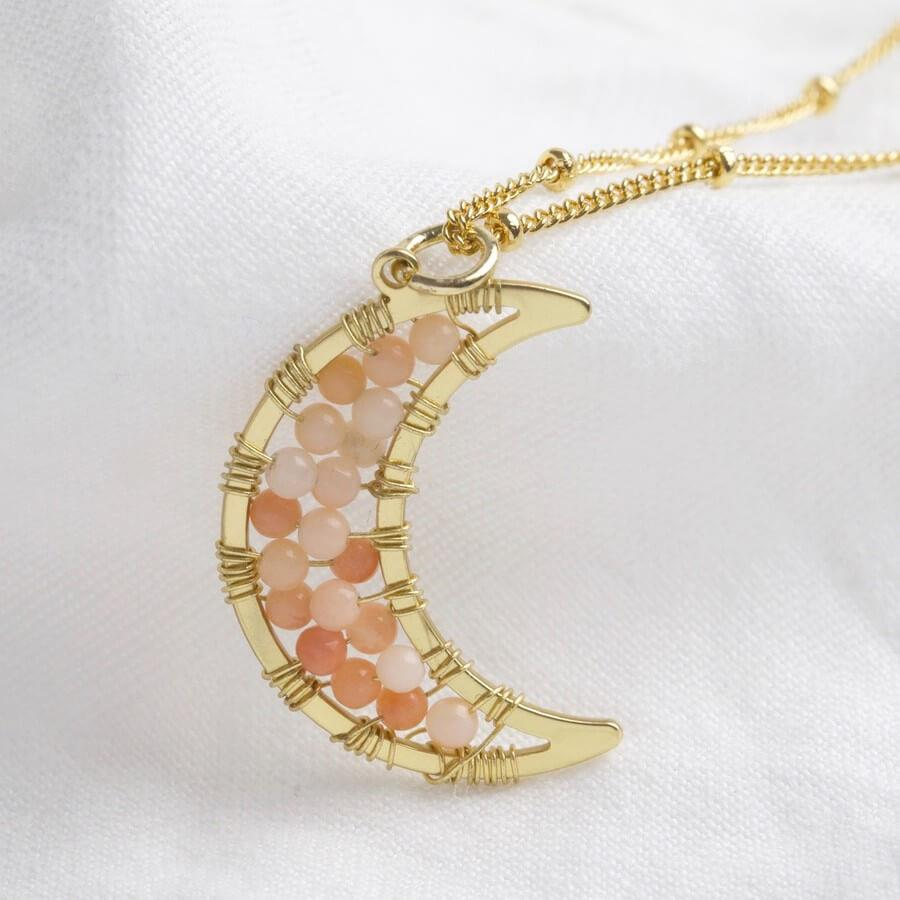 Moon with Pink Beads Charm Gold Necklace