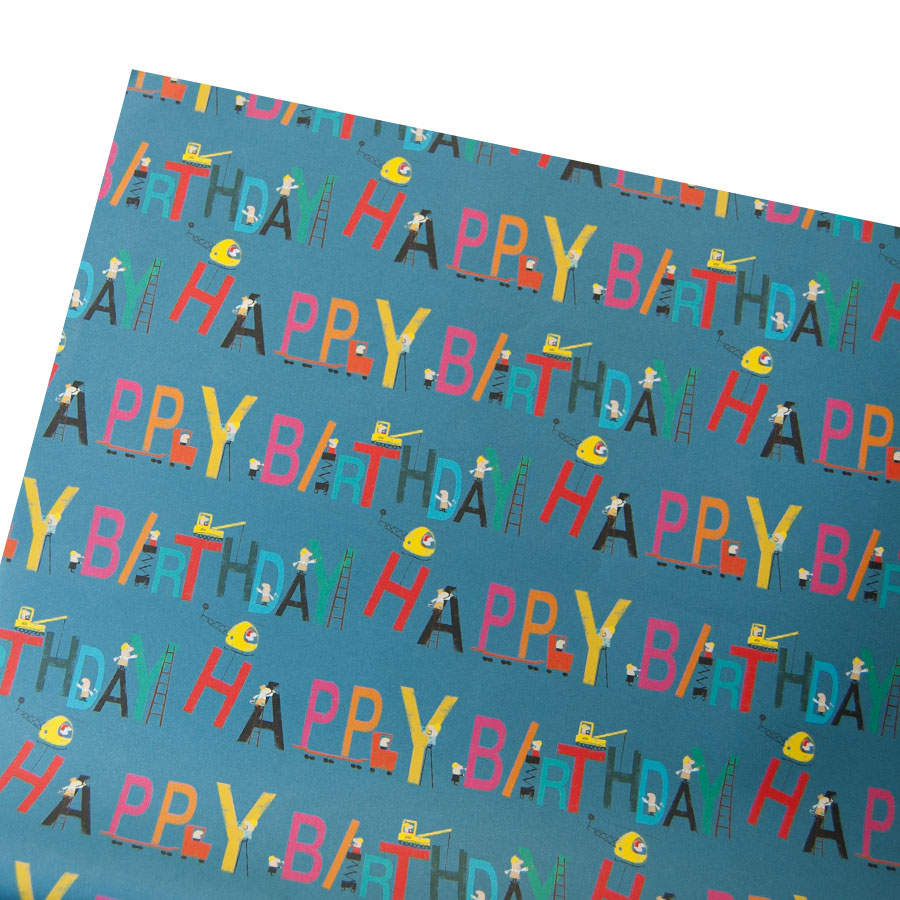 Blue Happy Birthday Gift Wrap