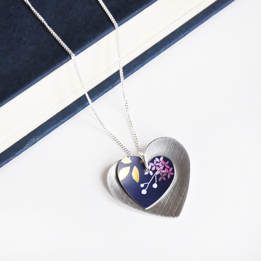 Kyoto Dark Blue Round Double Heart Pendant Necklace